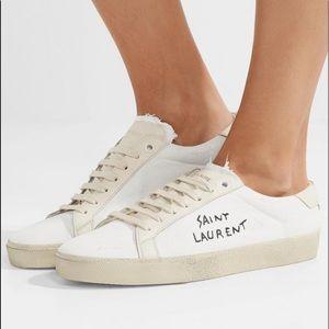 Saint Laurent court classic distressed sneakers